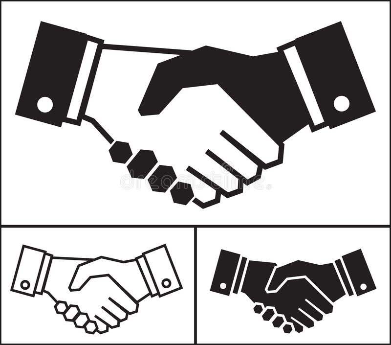 Handshake icon set on white background, business concept vector illustration