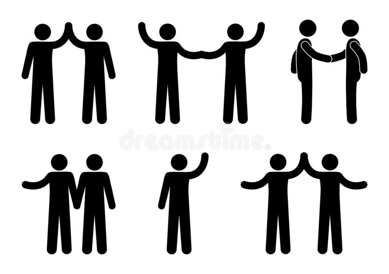 Handshake icon, stick figure man, people hold hands, human silhouette royalty free illustration