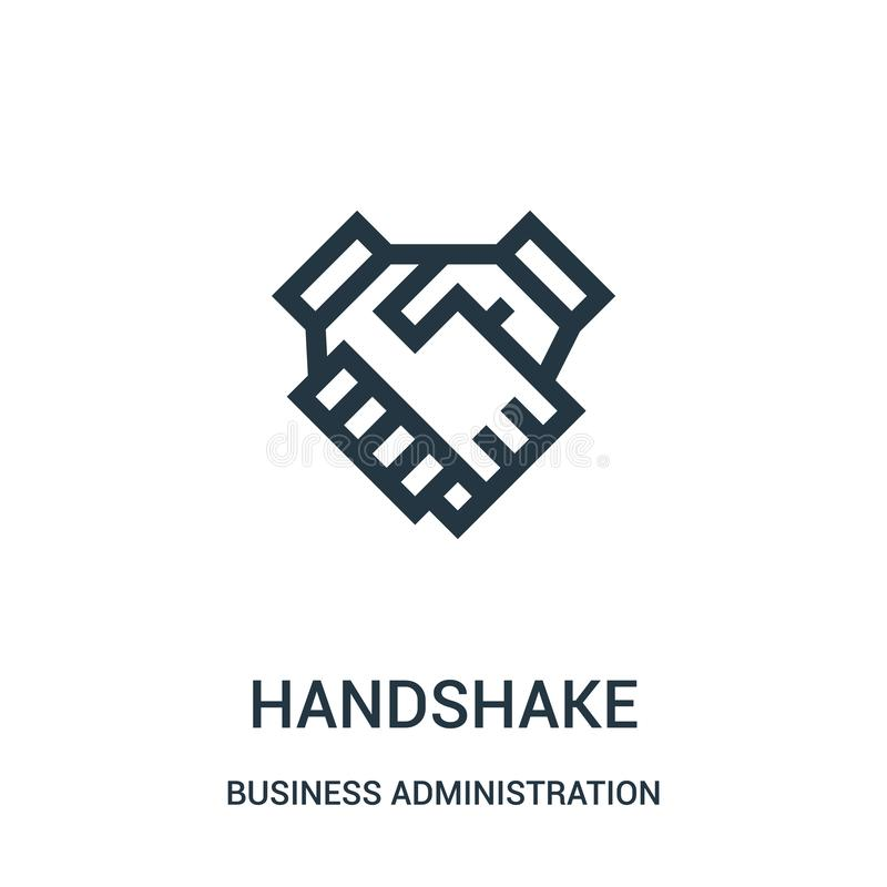 handshake icon vector from business administration collection. Thin line handshake outline icon vector illustration stock illustration
