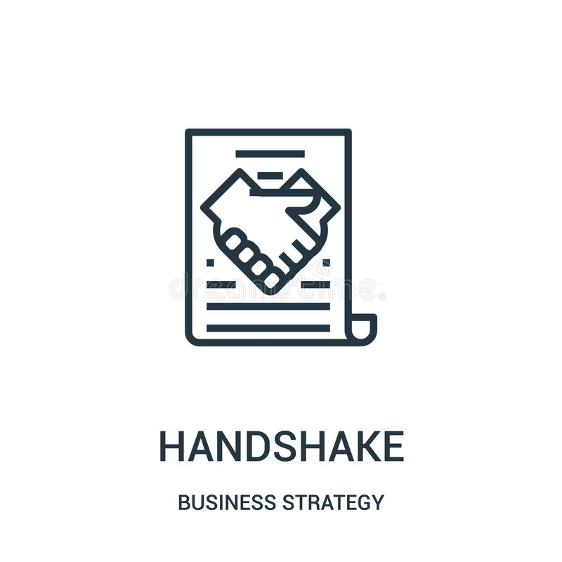 handshake icon vector from business strategy collection. Thin line handshake outline icon vector illustration stock illustration