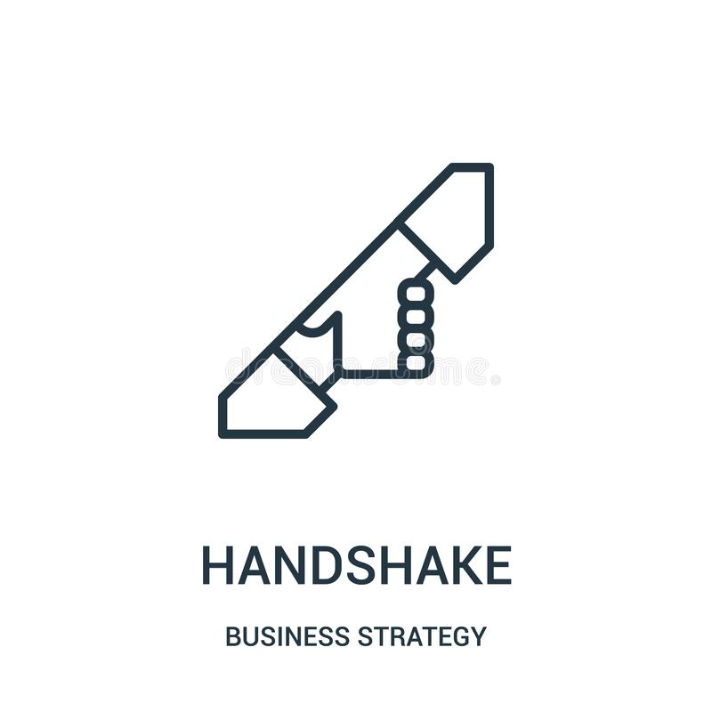 handshake icon vector from business strategy collection. Thin line handshake outline icon vector illustration royalty free illustration