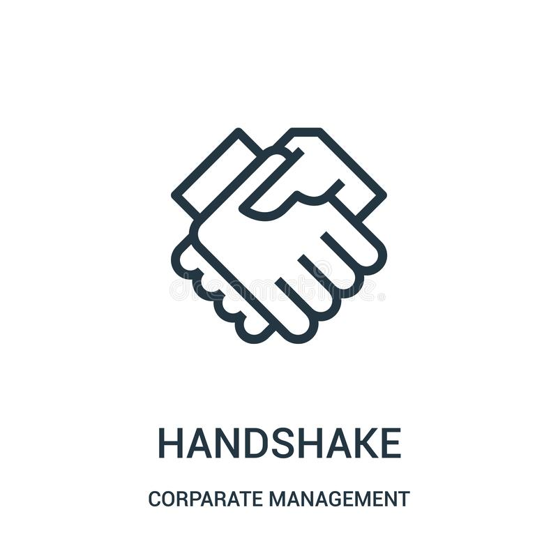 handshake icon vector from corparate management collection. Thin line handshake outline icon vector illustration. Linear symbol royalty free illustration