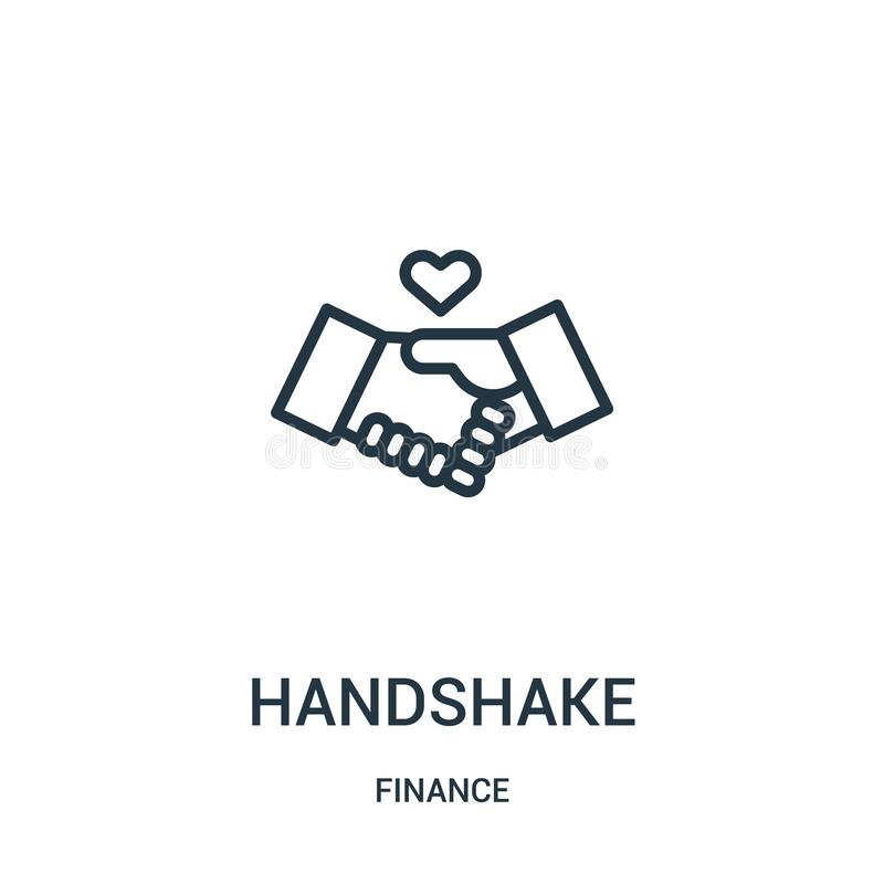 Handshake icon vector from finance collection. Thin line handshake outline icon vector illustration. Linear symbol for use on web. And mobile apps, logo, print stock illustration