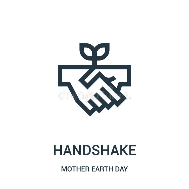 handshake icon vector from mother earth day collection. Thin line handshake outline icon vector illustration royalty free illustration