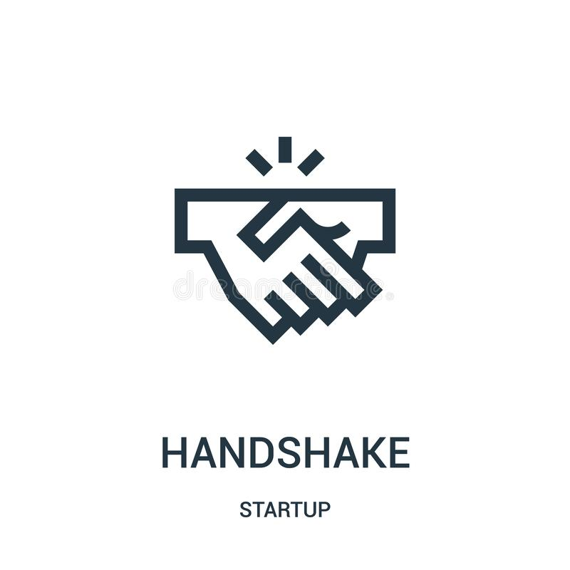Handshake icon vector from startup collection. Thin line handshake outline icon vector illustration. Linear symbol for use on web and mobile apps, logo, print royalty free illustration