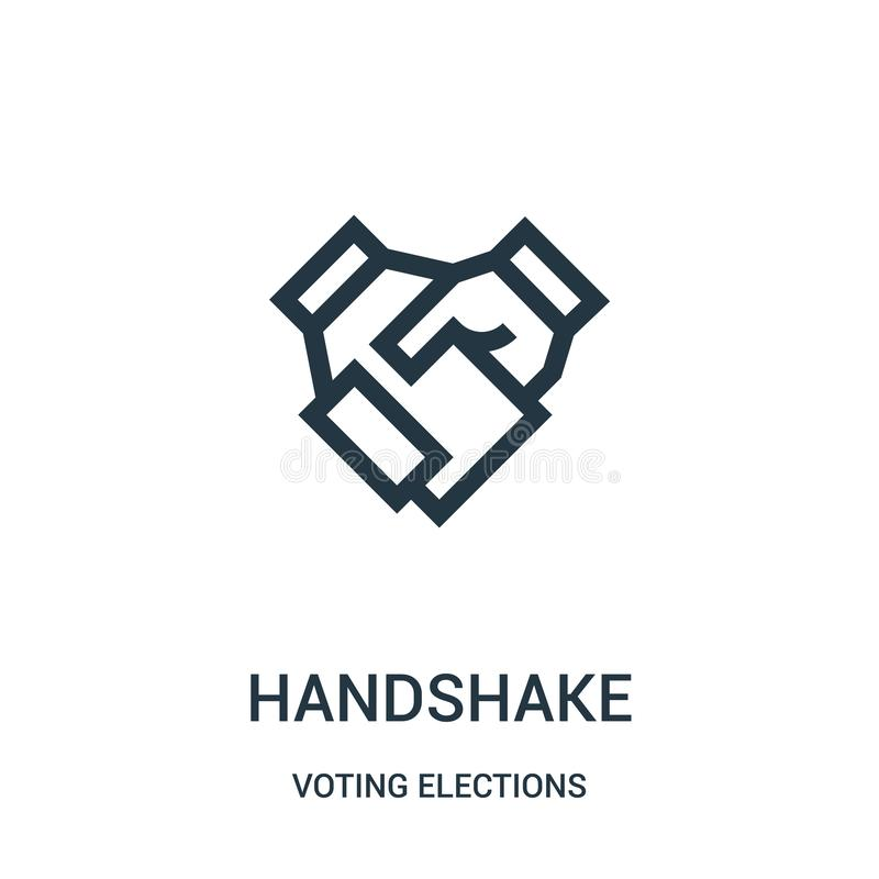 handshake icon vector from voting elections collection. Thin line handshake outline icon vector illustration vector illustration