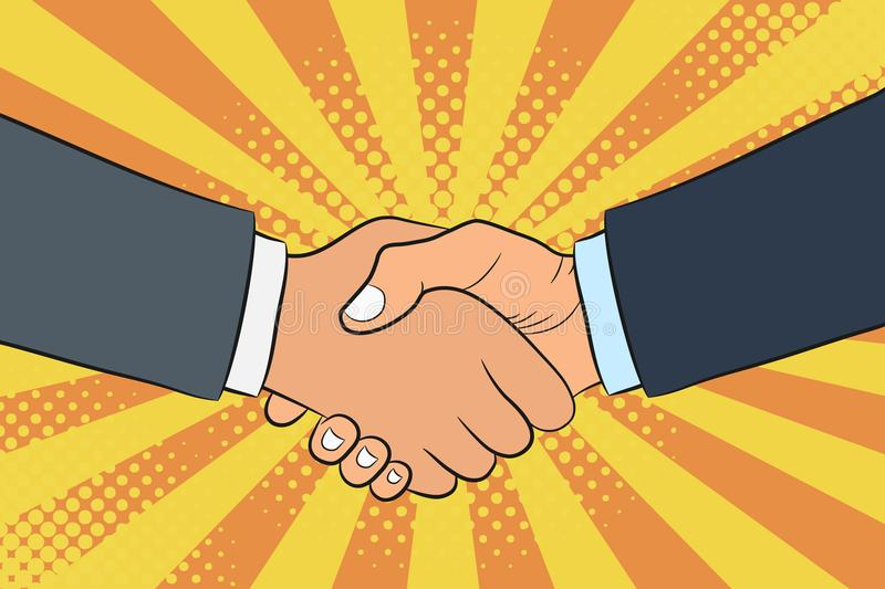 Handshake illustration in pop art style. Businessmans shake hands. Partnership and teamwork concept. royalty free illustration