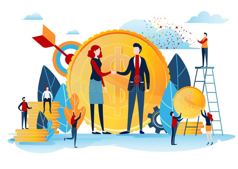 Handshake of the investors. Financing creative idea. Success concept. Businessman with gold coin. Start up project. Flat cartoon stock illustration