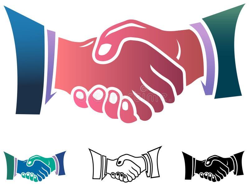 Handshake. Isolated illustrated clip art set royalty free illustration