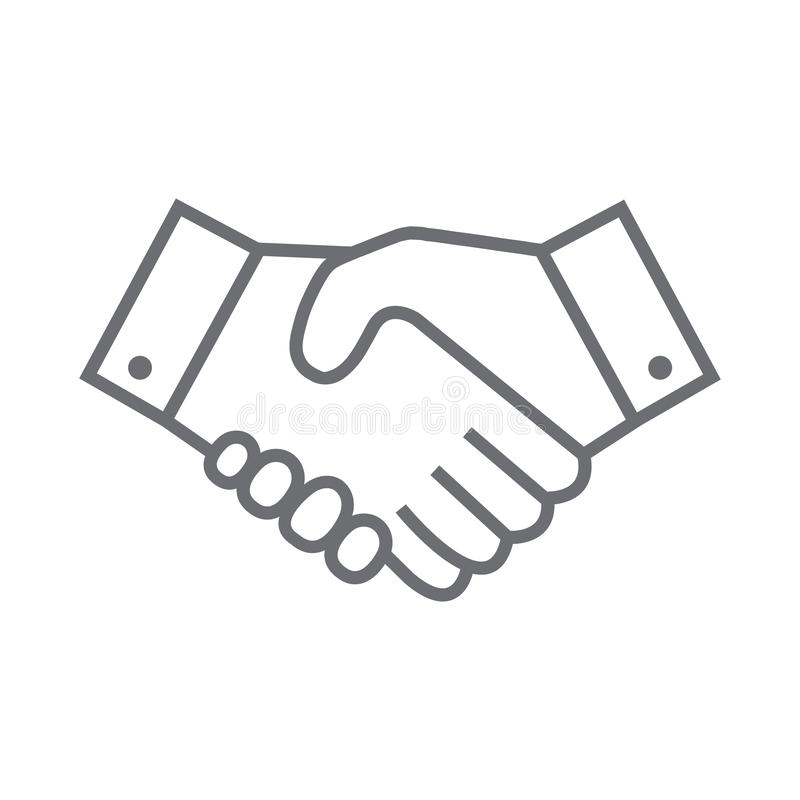 Handshake line icon. Partnership and agreement symbol vector illustration