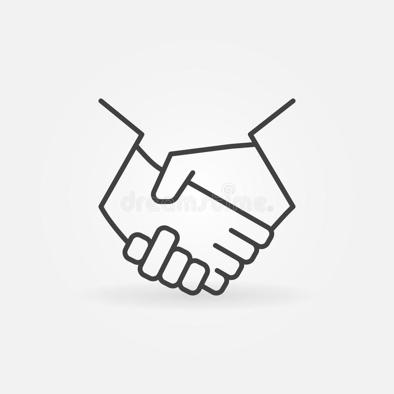 Handshake line icon. Vector minimal business and partnership thin line symbol or logo element royalty free illustration