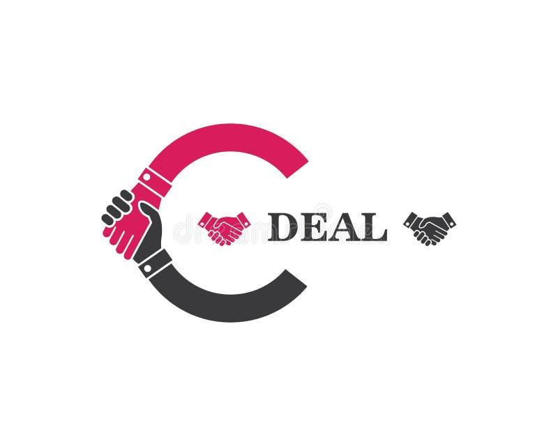 Handshake logo vector icon of business agreement. Design stock illustration