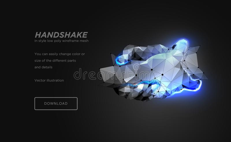 Handshake low poly wireframe art on black background. Hand gesture of help or support or energy or power. concept of steel hands vector illustration