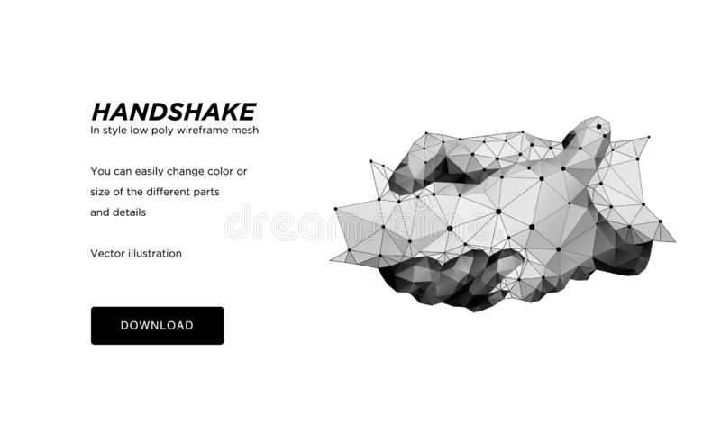Handshake low poly wireframe art on white background. Hand gesture of help or support or hope.The concept of steel hands. royalty free illustration