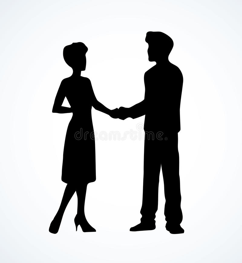 Handshake of man and woman. Vector drawing. Handclasp greeting of two adult espousal guy and lady standing on white background. Freehand linear black ink drawn royalty free illustration