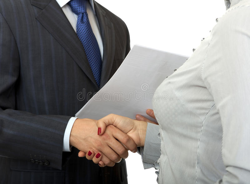 Download Handshake man and women. stock image. Image of contract - 16482331