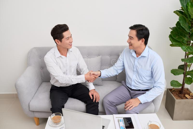 Handshake Manager and the client royalty free stock photo