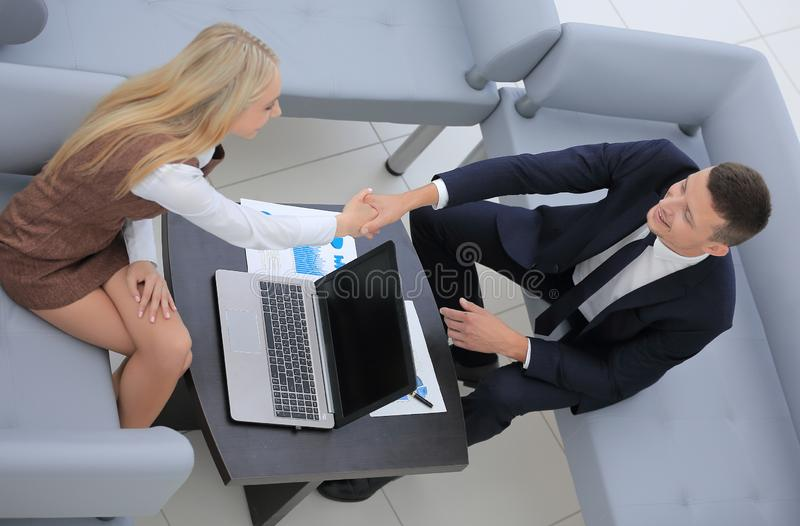 Handshake Manager and the client royalty free stock image