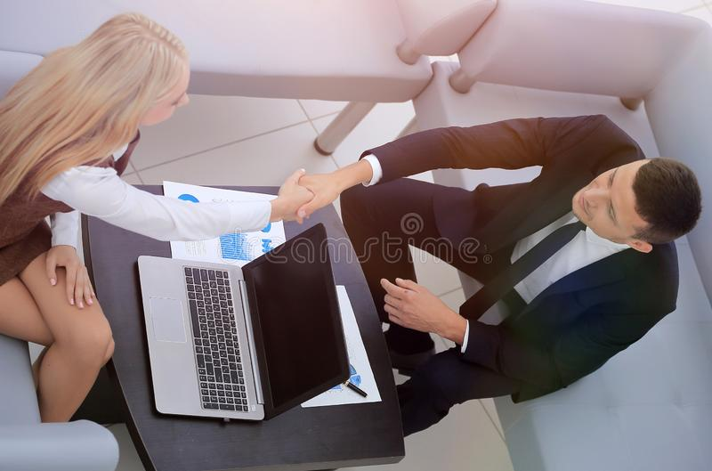 Handshake Manager and the client royalty free stock images