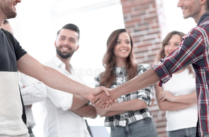 Handshake Manager and customer in the office. Photo with copy space stock photo