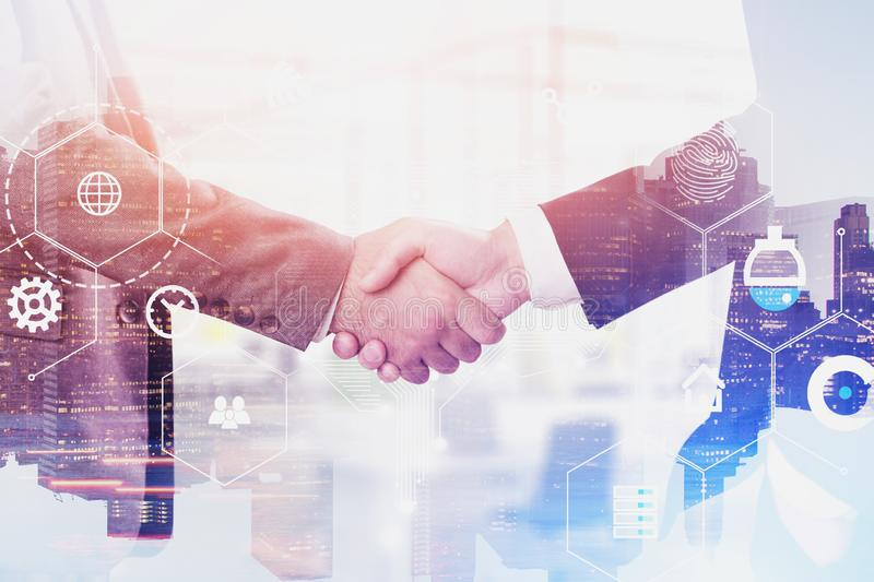 Handshake of men in city, digital interface. Two unrecognizable businessmen shaking hands over cityscape background with double exposure of digital business stock images