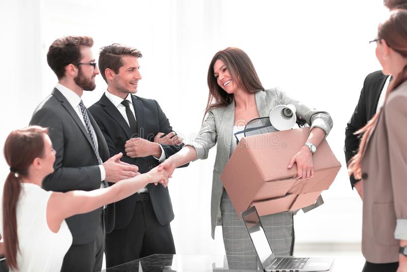 Handshake a new employee with the project Manager stock photos