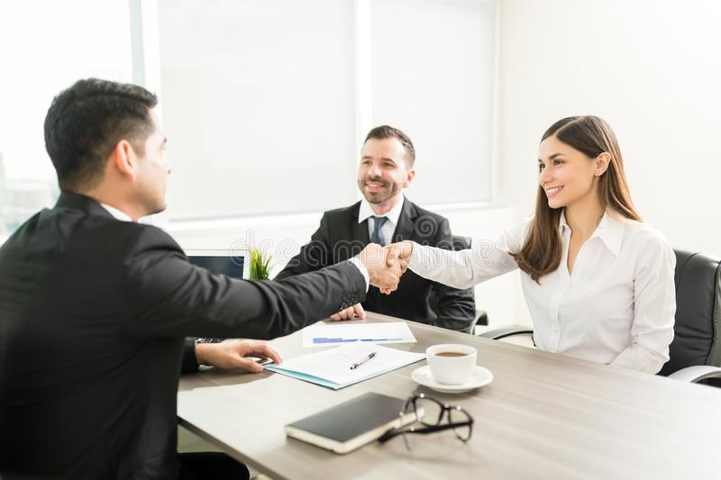 Handshake Over Agreement Of Business Project royalty free stock photo