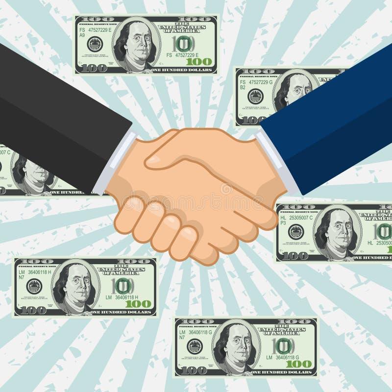 Handshake over some flying dollar banknotes vector illustration