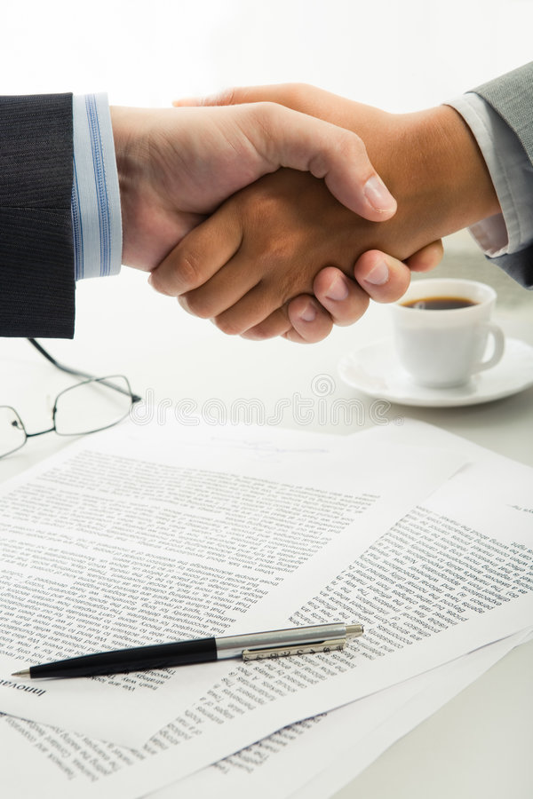 Download Handshake over workplace stock image. Image of communication - 5866029