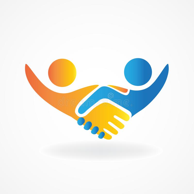 Handshake people in business vector icon logo design image royalty free illustration
