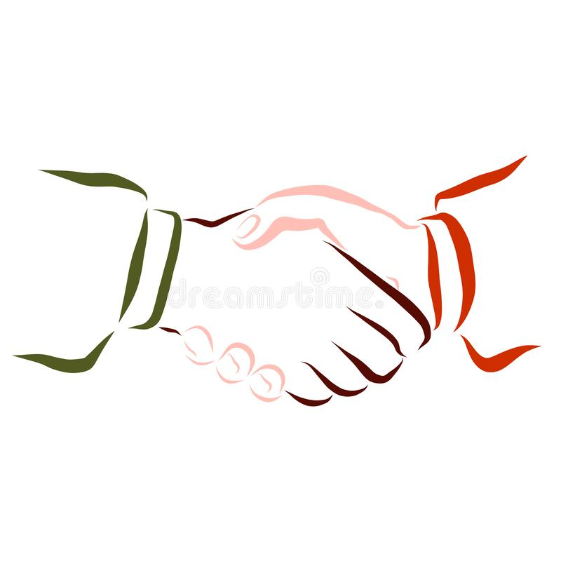 Handshake, people with different skin color, pattern stock illustration