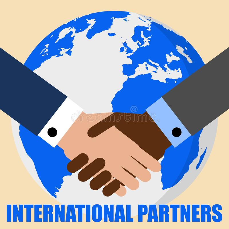 Handshake and planet Earth. World peace, global agreement, international partnership, worldwide business concepts. Lettering Inter royalty free illustration