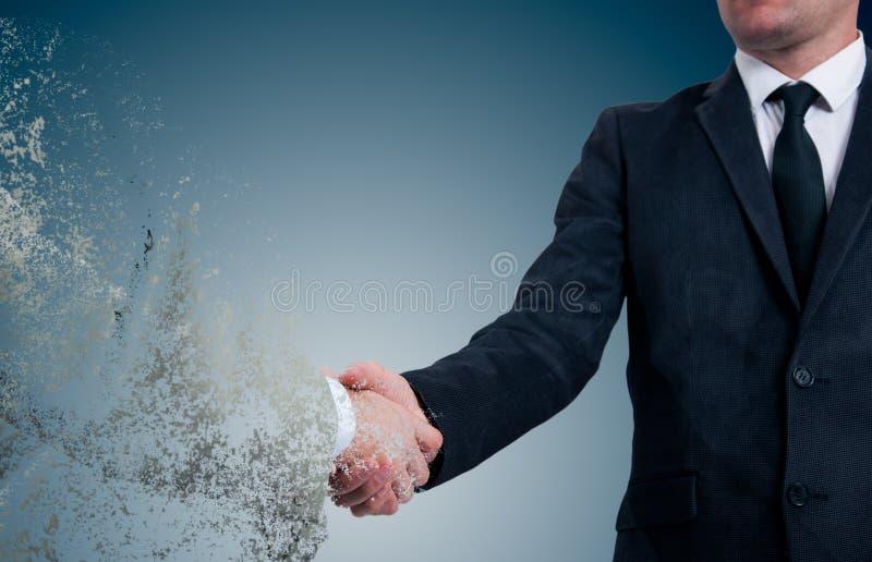 handshake Pojęcie no jest rzetelnego partnera w biznesie Skutek zawalenie się zdjęcie royalty free