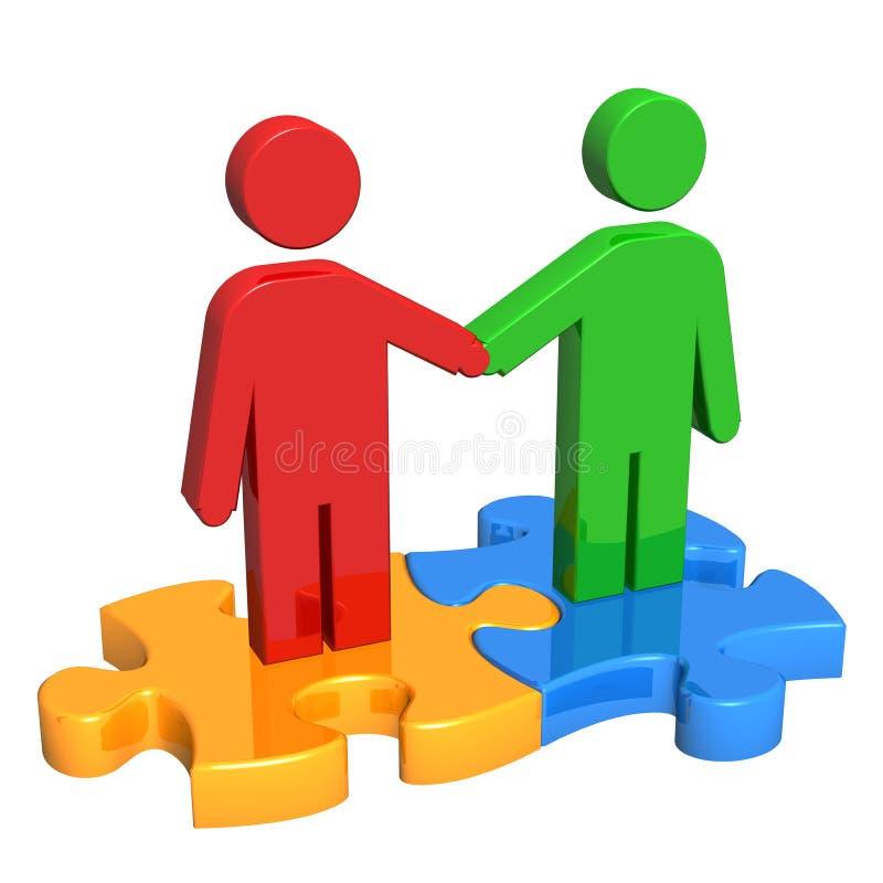 Handshake on Puzzle Pieces vector illustration