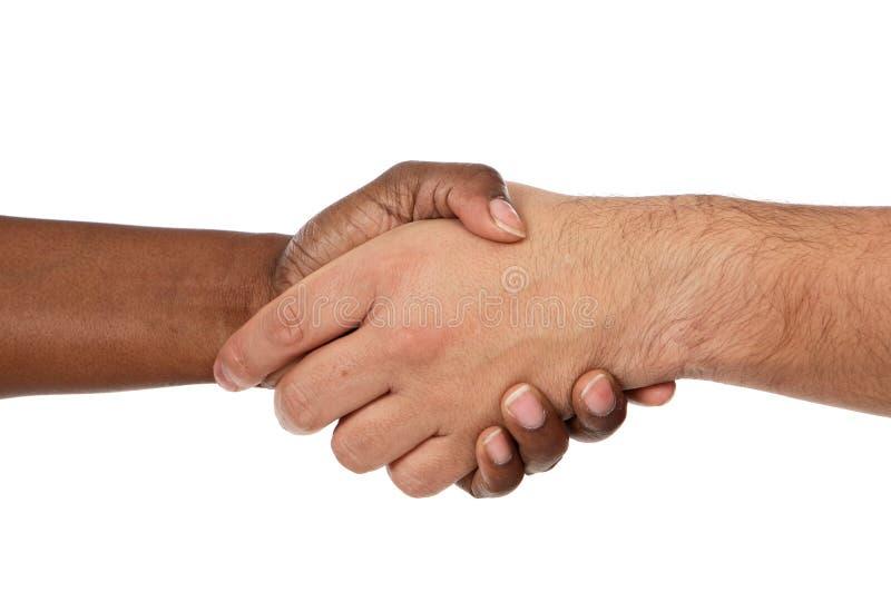 Handshake between races royalty free stock photo