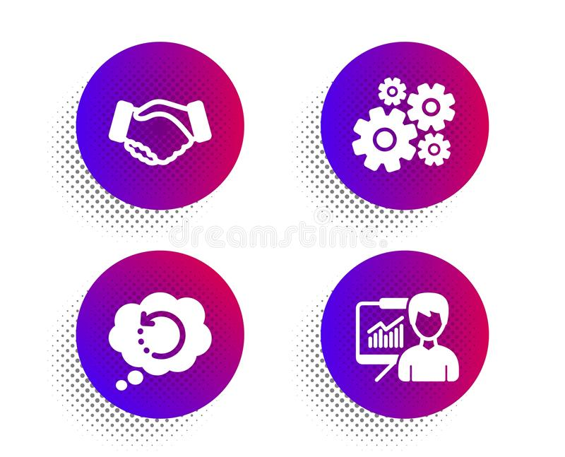 Handshake, Recovery data and Cogwheel icons set. Presentation sign. Deal hand, Backup info, Engineering tool. Vector. Handshake, Recovery data and Cogwheel icons stock illustration