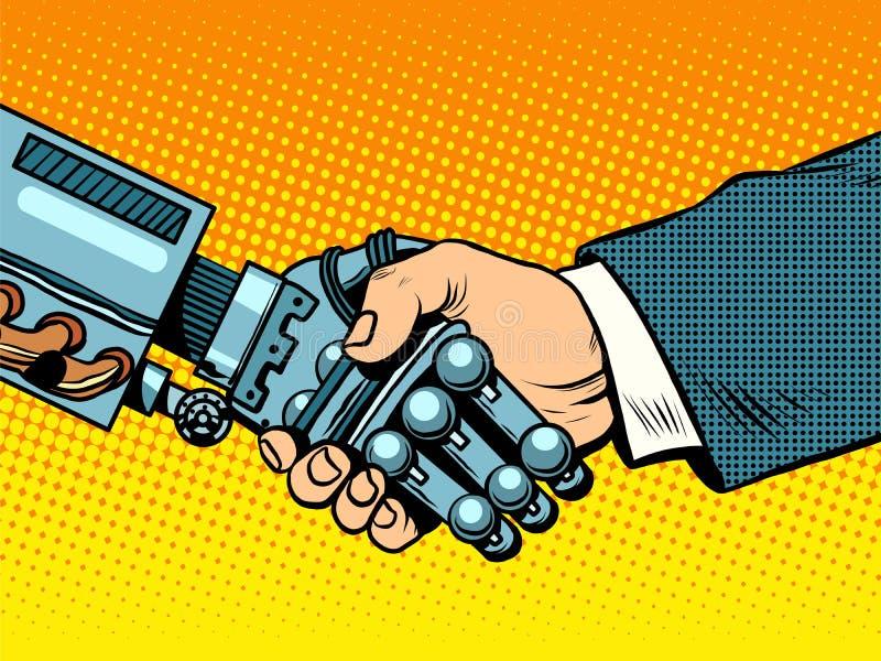 Handshake of robot and man. New technologies evolution vector illustration