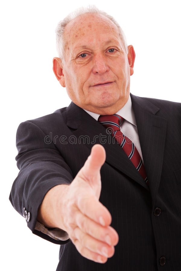 Handshake from a senior businessman royalty free stock images