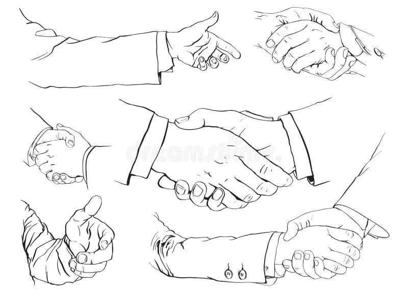 Handshake set. 6 illustrations of a handshake stock illustration