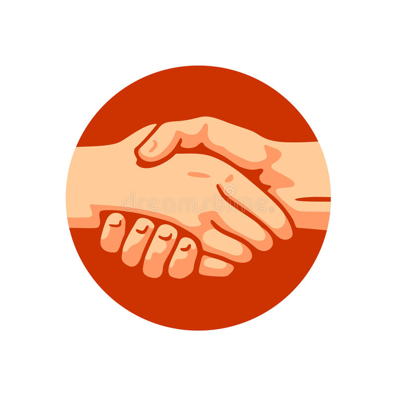 Handshake. Shaking hands on a background of a circle logo vector royalty free illustration