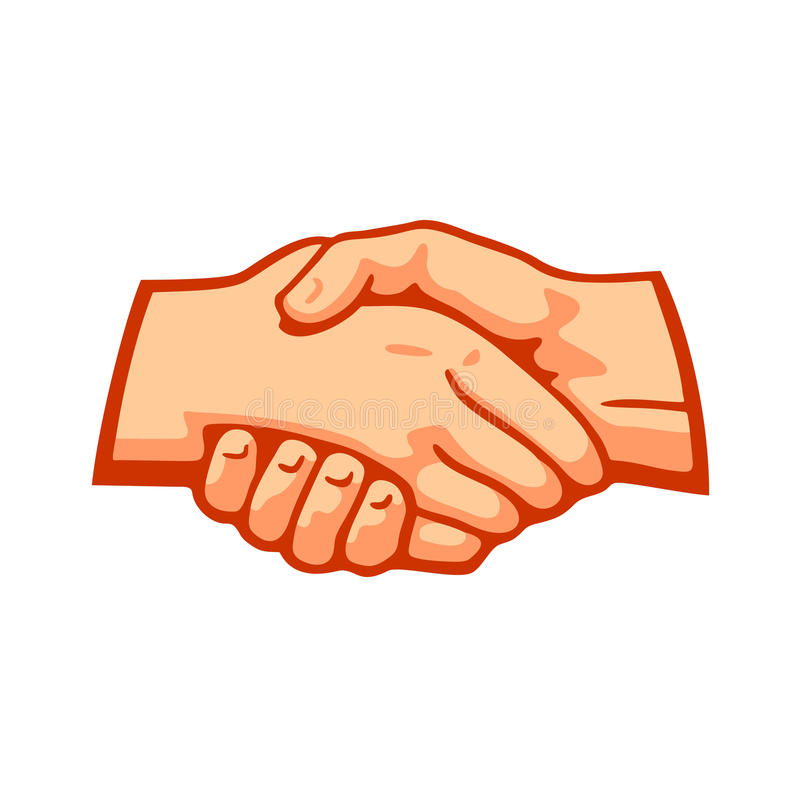 Handshake. Shaking hands on a background of a square logo stock illustration