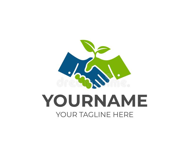 Handshake and sprout logo template. Cooperation, deal and growth of business vector design vector illustration