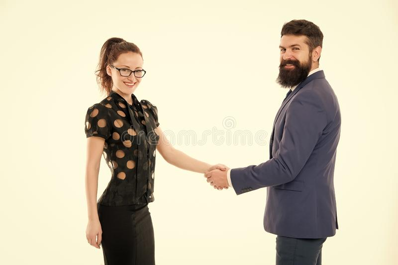 Handshake successful deal. Business concept. Nothing personal just business. Colleagues man with beard and pretty woman royalty free stock photography