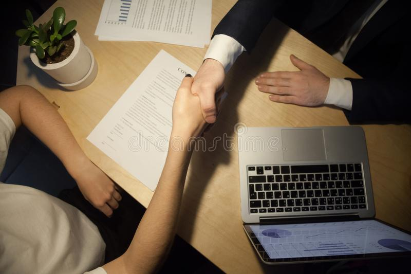 Handshake top close up view royalty free stock images
