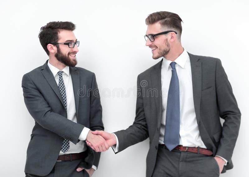 Handshake of two business people stock photo