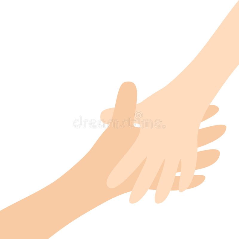 Handshake. Two hands arms reaching to each other. Happy couple. Mother and child. Helping hand. Close up body part. Baby care. Whi. Te background Isolated. Flat stock illustration