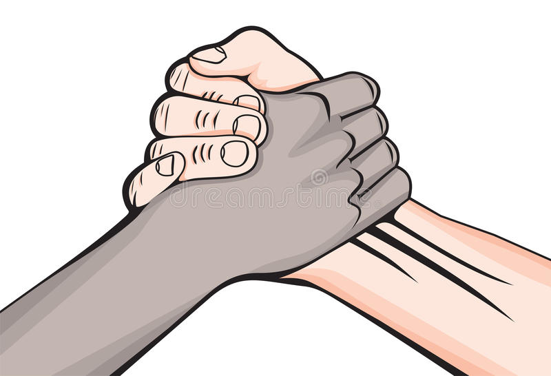 Handshake two male hands royalty free illustration