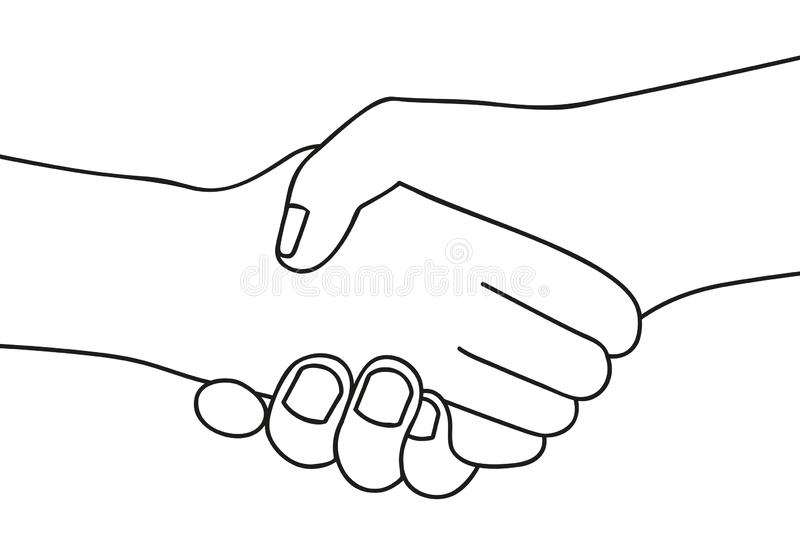Handshake two people shake hands outline drawing on white background stock illustration