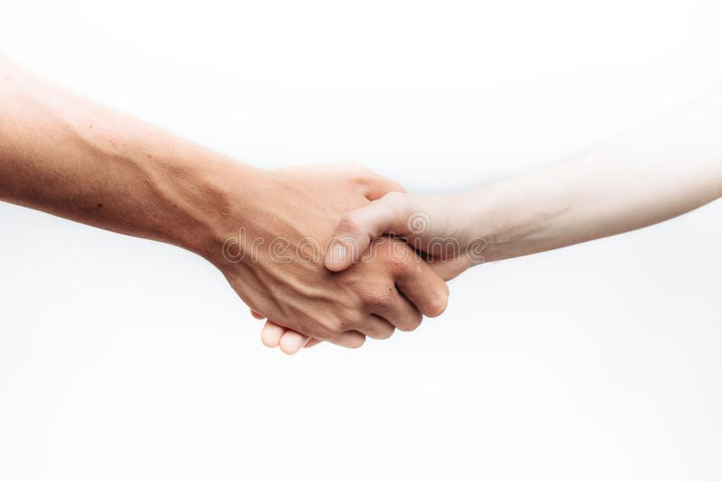 Handshake of two successful business people isolated on white background, for advertising, text insertion royalty free stock photo