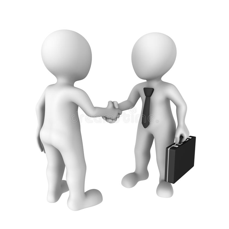 3d business people shaking hands. Isolated on white background stock illustration